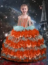 Sleeveless Floor Length Beading and Ruffled Layers Lace Up Pageant Gowns For Girls with Multi-color