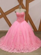 New Arrival Rose Pink Ball Gowns Sweetheart Sleeveless Tulle Brush Train Lace Up Beading and Lace Quinceanera Dresses