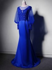 Hot Sale Royal Blue Scoop Clasp Handle Beading and Lace and Appliques Homecoming Dress Brush Train Long Sleeves