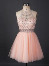 Mini Length Peach Prom Dresses Scoop Sleeveless Lace Up