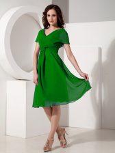 Elegant Green Empire Chiffon V-neck Short Sleeves Ruching Knee Length Zipper Prom Dress