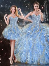 Organza Sweetheart Sleeveless Lace Up Beading and Ruffles 15th Birthday Dress in Light Blue