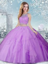 Delicate Lavender Ball Gowns Beading Quinceanera Dress Clasp Handle Tulle Sleeveless Floor Length