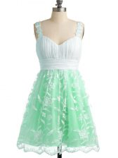 Empire Quinceanera Court of Honor Dress Apple Green Straps Lace Sleeveless Knee Length Lace Up