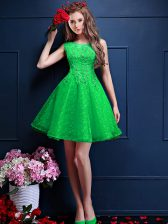 Super Tulle Bateau Sleeveless Lace Up Beading and Lace Court Dresses for Sweet 16 in Green