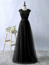 Sleeveless Tulle Floor Length Zipper Evening Dress in Black with Lace