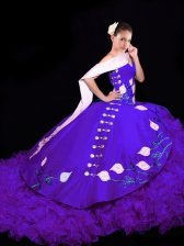 Ball Gowns Sleeveless Purple Sweet 16 Quinceanera Dress Brush Train Lace Up