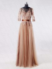 Half Sleeves Floor Length Lace and Appliques Zipper Dress for Prom with Brown