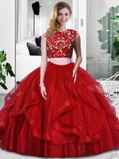 Clearance Sleeveless Floor Length Lace and Ruffles Zipper Vestidos de Quinceanera with Wine Red