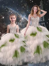 Enchanting Multi-color Sleeveless Beading and Ruffled Layers Floor Length 15th Birthday Dress