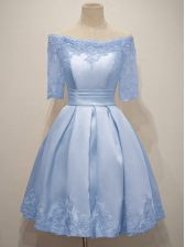Exceptional Half Sleeves Knee Length Lace Lace Up Court Dresses for Sweet 16 with Light Blue