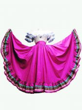 High Class Ruffled Layers Quinceanera Gown Fuchsia Lace Up Short Sleeves Floor Length