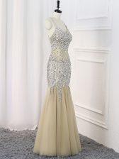 Champagne Straps Criss Cross Beading Evening Dress Sleeveless