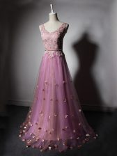Perfect Lilac Sleeveless Beading and Lace and Appliques and Hand Made Flower Lace Up