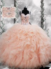 Floor Length Ball Gowns Sleeveless Peach Quinceanera Gowns Lace Up