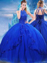 Beading and Ruffles Sweet 16 Dress Royal Blue Lace Up Sleeveless Brush Train