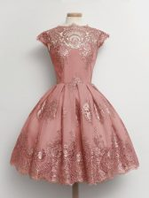 Custom Made Scalloped Cap Sleeves Lace Up Dama Dress for Quinceanera Pink Tulle