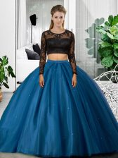 Glorious Blue Backless 15th Birthday Dress Lace and Ruching Long Sleeves Floor Length