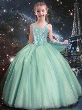 Customized Turquoise Sleeveless Beading Floor Length Flower Girl Dresses for Less