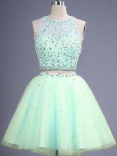 Ideal Knee Length Apple Green Dama Dress Scoop Sleeveless Lace Up