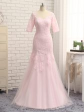 Dazzling Baby Pink V-neck Zipper Lace and Appliques Prom Dresses Half Sleeves