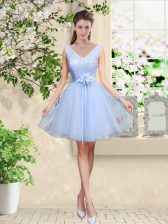 Knee Length Lavender Dama Dress for Quinceanera V-neck Sleeveless Lace Up