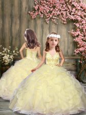 New Style Sleeveless Beading and Ruffles Lace Up Little Girls Pageant Dress