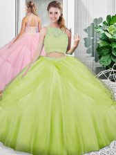 Dazzling Yellow Green Tulle Lace Up Scoop Sleeveless Floor Length Quince Ball Gowns Lace and Ruching
