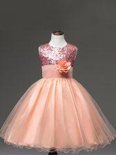 Ball Gowns Kids Formal Wear Peach Scoop Tulle Sleeveless Knee Length Zipper