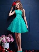 Tulle Sleeveless Knee Length Dama Dress and Beading and Lace