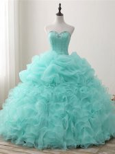 Fantastic Floor Length Apple Green Sweet 16 Dresses Sweetheart Sleeveless Lace Up