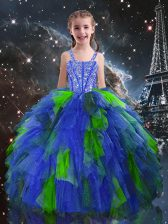 Sleeveless Tulle Floor Length Lace Up Pageant Gowns For Girls in Blue with Beading and Ruffles