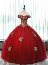 Wine Red Lace Up Off The Shoulder Beading and Appliques Sweet 16 Dresses Tulle Sleeveless