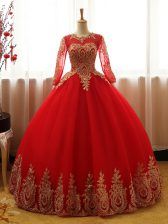 Wonderful Organza Long Sleeves Floor Length Quince Ball Gowns and Appliques