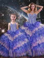 Traditional Floor Length Lace Up Quince Ball Gowns Multi-color for Military Ball and Sweet 16 and Quinceanera with Ruffled Layers and Sequins
