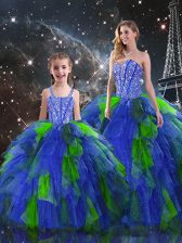 Colorful Multi-color Organza Lace Up Sweet 16 Dress Sleeveless Floor Length Beading and Ruffles