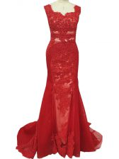 Square Sleeveless Tulle Prom Party Dress Lace Brush Train Zipper