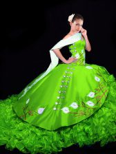 Fabulous Sleeveless Organza Brush Train Lace Up Quinceanera Gown in with Embroidery and Ruffles