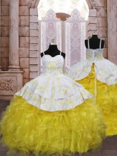 Cute Lace Up Pageant Gowns For Girls Gold for Quinceanera and Wedding Party with Embroidery and Ruffles Brush Train
