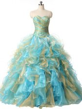 Hot Selling Multi-color Organza Lace Up Sweetheart Sleeveless Floor Length Quinceanera Gown Beading and Ruffles