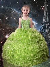 Charming Olive Green Sleeveless Floor Length Beading and Ruffles Lace Up Kids Pageant Dress