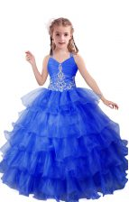 Blue Girls Pageant Dresses Quinceanera and Wedding Party with Beading and Ruffled Layers V-neck Sleeveless Zipper