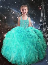 Floor Length Turquoise Little Girls Pageant Dress Straps Sleeveless Lace Up