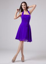 Custom Made Purple Evening Dress Prom and Party with Ruching Halter Top Sleeveless Zipper