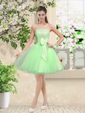 Admirable A-line Lace and Belt Vestidos de Damas Lace Up Organza Sleeveless Knee Length