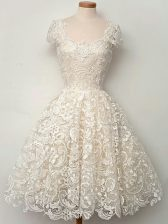 Nice Straps Cap Sleeves Lace Up Quinceanera Dama Dress Champagne Lace