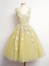Gorgeous V-neck Sleeveless Tulle Damas Dress Lace Lace Up