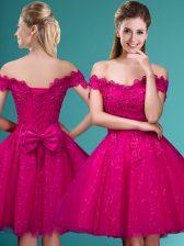 Fuchsia Off The Shoulder Neckline Lace and Belt Vestidos de Damas Cap Sleeves Lace Up