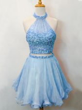 Sleeveless Organza Knee Length Lace Up Court Dresses for Sweet 16 in Blue with Beading