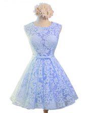 Lavender Lace Up Scoop Belt Dama Dress Lace Sleeveless